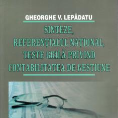 Sinteze, referențialul național, teste grilă privind contabilitatea de gestiune