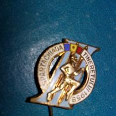 insigna SPARTACHIADA TINERETULUI 1958,Insigna veche sportiva,colectie,T.GRATUIT