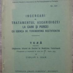 Incercari in tratamentul ascaridiozei la caini si purcei/ 1935