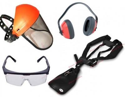 Set accesorii motocoasa (casca protectie, ochelari, ham, casca antifonica) foto