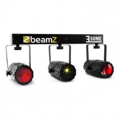 Beamz 3-Some Clear, trei reflectoare cu LED-uri, microfon cu laser