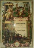 Diploma de onoare pentru pompier german, litografie veche 1887, pompieri