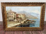 Cumpara ieftin Tablou vechi Port Francez (Villefranche sur mer), Peisaje, Ulei, Impresionism