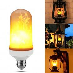 Bec LED cu efect de flacara in miscare, putere 1W, E27, lumina calda 3500K