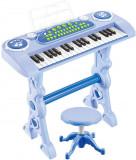 Pian electronic copii 37 clape cu microfon si scaun albastru