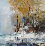 Tablou ulei (15/15 )-PRIMA ZAPADA, Flori, Impresionism