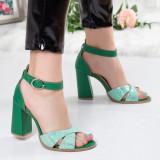 Sandale dama Piele Galida verzi cu toc