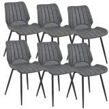 [en.casa]® Set sase bucati scaune tapitate design Pohorje, 77 x 57,5 x 46 cm, poliuretan imitatie piele/metal, gri inchis HausGarden Leisure, [en.casa]