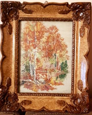 Gobelen - Peisaj de TOAMNA -Rama Blondel tablou - pas mic foto