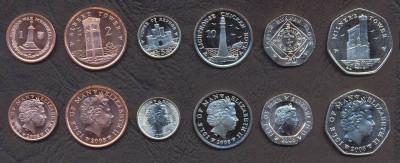INSULA MAN SET DE MONEDE 1, 2, 5, 10, 20, 50 Pence 2008 UNC foto