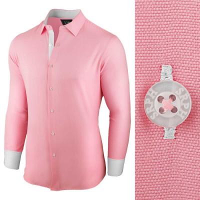 Camasa pentru barbati, roz, regular fit, bumbac, casual - Business Class Ultra foto