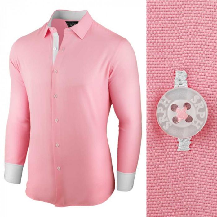 Camasa pentru barbati, roz, regular fit, bumbac, casual - Business Class Ultra