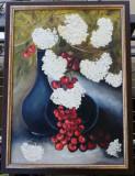 Tablou Natura statica cu cirese și Flori pictura ulei pe panza 75x55cm, Realism