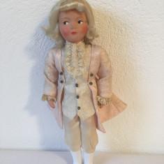 Papusa Mozart veche, vintage, 22 cm, deosebit de frumoasa