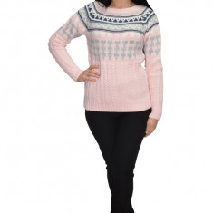 Bluza tricotata,aspect impletit cu motive de Craciun,nuanta roz
