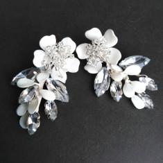 Cercei cu flori, frunze si cristale montee NMCJ006