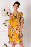 Rochie Alis galbena cu imprimeu floral si lurex