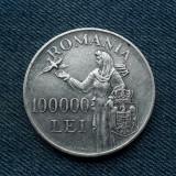 100000 Lei 1946 Romania / argint / Regele Mihai / 100.000