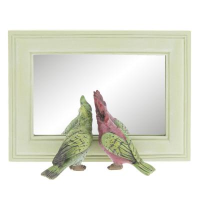 Oglinda decorativa perete polirasina Papagali 21x7x15 cm foto