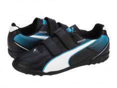 Ghete fotbal copii Puma Esquarda TT V Jr. black-white-scuba blue 10313201, 30, Negru
