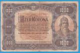 (5) BANCNOTA UNGARIA - 1.000 KORONA 1920 (1 IANUARIE1920) SERIA B01/170051, RARA