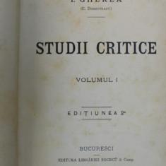 STUDII CRITICE de I. GHEREA, VOL I 1890