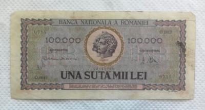 BANCNOTA 100.000 LEI 1947 foto