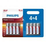 Pachet de 4+4 - AA R3 Philips Power Alkaline Conținutul pachetului 1x Blister