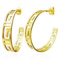 Cercei aurii, rotunzi - simbol grecesc decupat