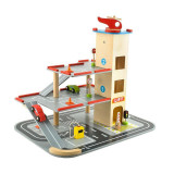 Joc parcare supraetajata lemn, masini, elicopter, lift, semafor, accesorii trafic