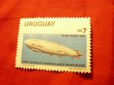 Timbru Uruguay -1983 Zepelin , 1 val.