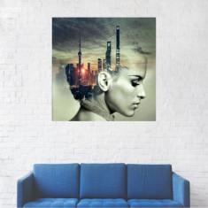 Tablou Canvas, Orasul din capul unei femei - 20 x 20 cm