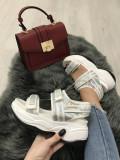 Sandale dama albe cu platforma marime 36, 38, 39, 40+CADOU