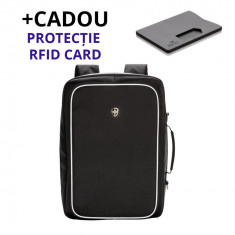 Rucsac laptop antifurt Swiss Peak Bizz 3 Way + Cadou inclus