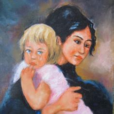 Tablou / Pictura fata cu copil blond semnat Cimpoesu., Portrete, Ulei, Realism
