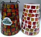 Suport pahar mozaic din bucati sticla pentru lumanare pastilă , h 12 cm