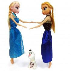 Set Papusi Anna si Elsa 30cm + Figurina Olaf