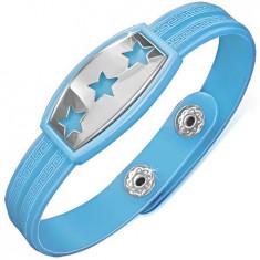 Brățară din cauciuc albastru cu stele pe placă din oțel