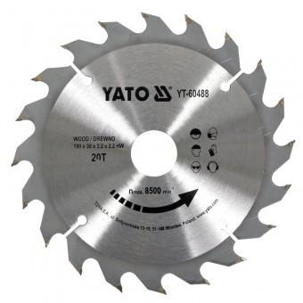 Disc pentru lemn Yato YT-60488, 190x30x3 mm, 20 dinti, pastile vidia