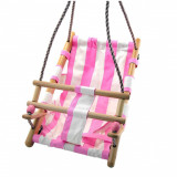 Cumpara ieftin Leagan pentru copii, textil/lemn, roz, max 70 kg, 36x24x45 cm, Strend Pro