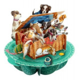 Santoro Pirouettes Basket of Puppies 3D Pop Up Greeting Card