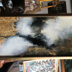 Peisaj abstract, Zile toride. Tablou abstract. Tablou original semnat