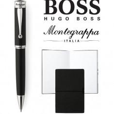 Set Ducale Black Palladium Ballpoint Montegrappa si Note Pad Hugo Boss
