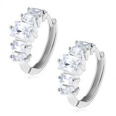 Cercei din oțel de culoare argintie - cerc decorat cu zirconii dreptunghiulare