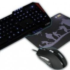 Kit Gaming 4 in 1 Tastatura, Mouse, Casti si Mousepad iBOX AURORA IZGSET1, Illuminat, USB, Us Layout (Negru)