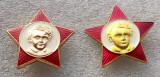 LOT 2 INSIGNE DIFERITE PIONIER RUSIA URSS STEA ROSIE tanarul Octobrist 32 mm **