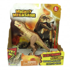 Dinozaur cu sunete si lumini Tyrannosaurus Rex, 21 x 20 cm, Galben