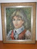 Tablou pictura ulei pe panza YNGVE LIDSTRÖM portret de fata semnat 1974 Suedia, Portrete, Realism