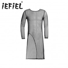 Roba Plasa Dres Barbati BDSM Fashion Fetish Side Cut Bluza, M, Negru