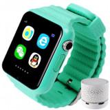 Smartwatch cu GPS Copii si Seniori iUni V8K, Pedometru, Touchscreen 1.54 inch, BT, Notificari, Camera, Green + Boxa Cadou